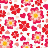 Heart flowers seamless pattern Royalty Free Stock Image