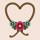 Heart and flowers tatto isolated icon design Royalty Free Stock Photography
