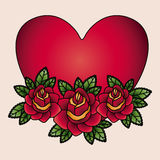 Heart and flowers tatto isolated icon design Royalty Free Stock Photos