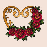 Heart and flowers tatto isolated icon design Royalty Free Stock Image