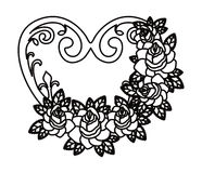 Heart and flowers tatto isolated icon design Stock Photography