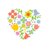 Heart from flowers, valentines card. Royalty Free Stock Images