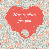 Heart of flowers valentines day card. Red heart of flowers valentines day card Royalty Free Stock Images