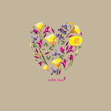 Heart of flowers. Vector. Royalty Free Stock Image
