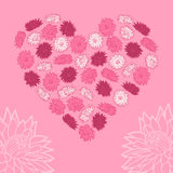 Heart of flowers. Vector illustration. Background. Royalty Free Stock Images
