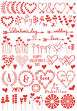 Heart flowers, vector set Stock Images