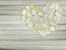 Heart from flowers on wooden table. EPS 10 Stock Photo