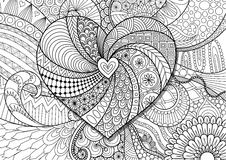 Heart on flowers zendoodle design for adult coloring book page. Stock Vector Royalty Free Stock Images