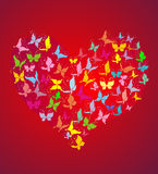 Heart from flying butterflies, vector illustration Royalty Free Stock Image