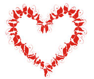 Heart from flying butterflies. Vector illustration Stock Photo