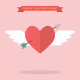 Heart flying with cupid arrow Stock Photography