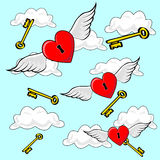 Heart Flying with Keys. Valentines heart locks, flying on Angel Wings though cloudy blue sky and falling keys in background Stock Photos