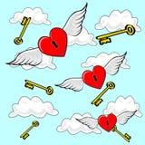 Heart Flying with Keys Stock Photos
