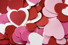 Heart foam. Cut outs stacked on top of each other pink, red, and white nice background image Stock Photography