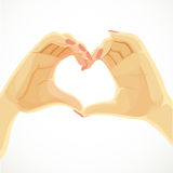 Heart folded from beautiful female hands Royalty Free Stock Image