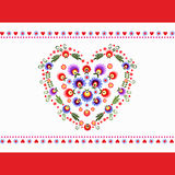 Heart Folk Embroidery vector illustration