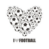 Heart from the footballs. I love Football Stock Images
