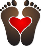 Heart footprint logo. Illustration art of a heart footprint logo with  background Stock Images
