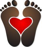 Heart footprint logo Stock Images