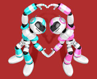 The heart in the form of body language. Create 3D Humanoid Robot Royalty Free Stock Images