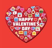 Heart Form Doodle Elements Illustration. Valentine`s Day Card. Stock Images