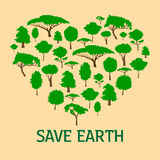 Heart in form of green trees. Save nature concept Royalty Free Stock Photo