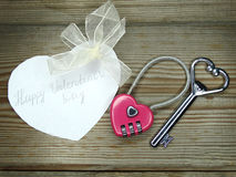 Heart form lock and key valentine`s day love concept Royalty Free Stock Photos