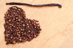 Heart form made from spice cloves Stock Photo