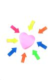 Heart form post it and arrows Stock Photo