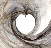Heart formation. Fractal swirls form a heart in the middle Royalty Free Stock Images