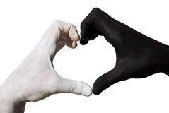 Heart formed by black and white hand Royalty Free Stock Photo