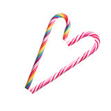 Heart formed of colorful Christmas candy canes Royalty Free Stock Photography