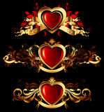 Heart forms with ornate elements Royalty Free Stock Images