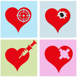 Heart. Four heart in funny concept about gunshot Stock Image