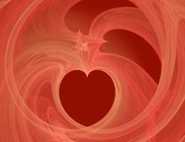 Heart- fractal. Heart abstract (red and gold whirlwinds with the white center) - a fractal Stock Image
