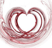 Heart Fractal. In red and black, isolated on white background.  Computer generated Royalty Free Stock Photo
