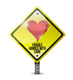 Heart fragile handle with care sign illustration Royalty Free Stock Images