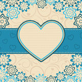 Heart frame. Heart frame on the floral background Stock Photography