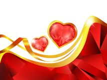 Heart frame. Ruby heart frame in red and golden tones Stock Image