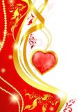 Heart frame. Ruby heart frame in red and golden tones Stock Photography