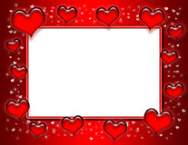 Heart Frame. Frame with red gradient background, beveled red hearts, small hearts, sparkles and a large white area for text royalty free illustration