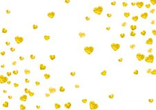 Heart frame background with gold glitter hearts. Valentines day. Vector confetti. Hand drawn texture. Heart frame background with gold glitter. Valentines day Royalty Free Stock Photo