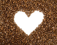 Heart frame background made of coffee beans. Heart shaped frame background made of roasted coffee beans Stock Photography