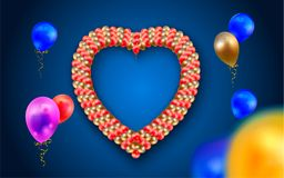 Heart frame with balloons. Blue background. Rasterized Copy Royalty Free Stock Image
