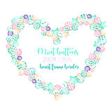 Heart frame, border with watercolor pink and mint buttons