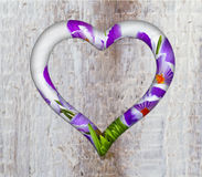 Heart frame border window wooden. Wooden flowers border of hearts shape on the wooden wall royalty free stock photography