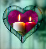 Heart frame border window wooden lighted candle Stock Photo