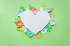 Heart frame with color paper flower Royalty Free Stock Image