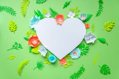 Heart frame with color paper flower Royalty Free Stock Photo