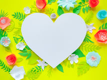 Heart frame with color paper flower Royalty Free Stock Images